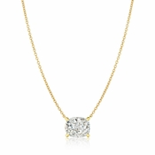 CRISLU Radiant Cushion Cut Pendant Necklace Finished in 18KT Gold
