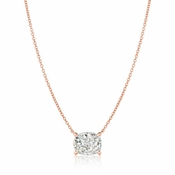 CRISLU Radiant Cushion Cut Pendant Necklace Finished in 18KT Rose Gold