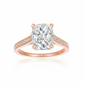 CRISLU Radiant Cushion Cut Ring finished in 18KT Rose Gold - Size 6