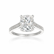 CRISLU Radiant Cushion Cut Ring finished in Pure Platinum - Size 6