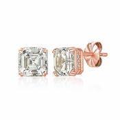 CRISLU Royal Asscher Cut 4.10 Carat Earrings Finished in 18KT Rose Gold