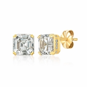 CRISLU Royal Asscher Cut 4.10 CTTW Earrings Finished in 18KT Gold