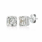 CRISLU Royal Asscher Cut Earrings 4.10 Carat Finished in Pure Platinum
