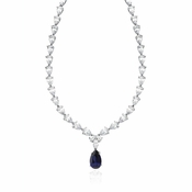 CRISLU Classic Pear Tennis Necklace With Sapphire - 16""