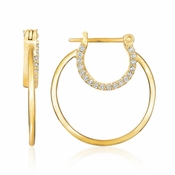 CRISLU Small Embrace Hoop Earrings Finished in 18KT Gold