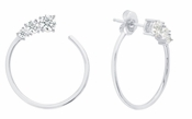 CRISLU Small Front Facing 1.2 Carat Hoops Finished in Pure Platinum