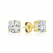 CRISLU Solitaire Asscher Earrings 4.00 Carat Finished in 18KT Gold