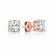 CRISLU Solitaire Asscher Earrings 4.00 Carat Finished in 18KT Rose Gold