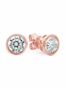 Sold Out - CRISLU Solitaire Bezel Set Earrings 3.00 Carat Finished in 18K Rose Gold