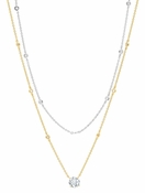 CRISLU Solitaire Double Layered Necklace finished in 18KT Gold and Platinum