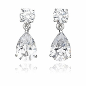 CRISLU Classic Pear Drop Earrings 3.0 Carat Finished in Pure Platinum