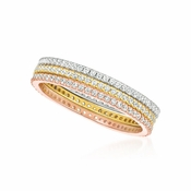 CRISLU Tricolor Stunning Stacks Set 4mm - Size 7