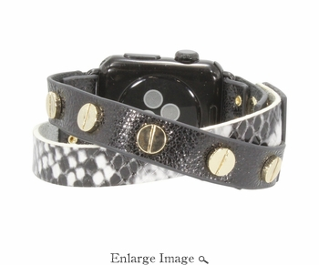 SOLD OUT Erimish  Crisscross Black White Snake Apple Watch Band - SPECIAL OFFER