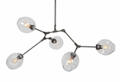 Five Lamp Constellation Chandelier - Clear Glass & Antique Bronze