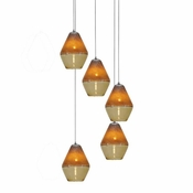 Five Lamp P-A1 Encalmo Chandelier - Amber Glass