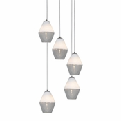 Five Lamp P-A1 Encalmo Chandelier - White & Clear Glass