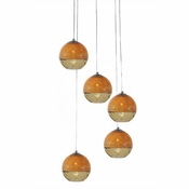 Five Lamp P-A5 Encalmo Chandelier - Amber Glass