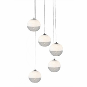 Five Lamp P-A5 Encalmo Chandelier - White & Clear Glass