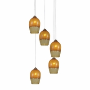 Five Lamp P-A6 Encalmo Chandelier - Amber Glass