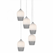 Five Lamp P-A6 Encalmo Chandelier - White & Clear Glass