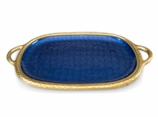 "Julia Knight Florentine 22.5"" Handled Tray Gold Sapphire"