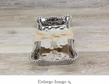 Let's Entertain Porcelain Dinner Napkin/ Guest Towel Holder - Silver