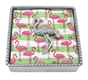 Mariposa Flamingo Beaded Napkin Box - CLOSEOUT