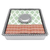 Mariposa Round Pearl Beaded Napkin Box - CLOSEOUT