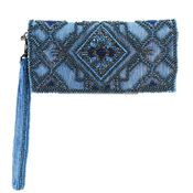 Mary Frances Symmetry Blue Wallet / Wristlet