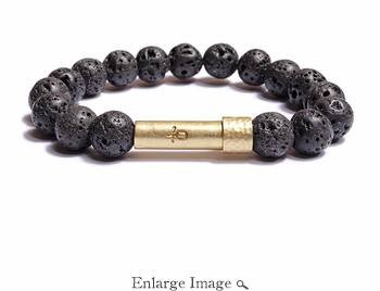 Men's Black Lava Rock Wishbeads Bracelet - SALE