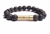 Mens Black Lava Rock Wishbeads Bracelet - SALE