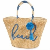 Navy Beach Straw Tote Bag - CLOSEOUT