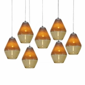 Seven Lamp P-A1 Linear Encalmo Chandelier - Amber Glass