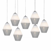 Seven Lamp P-A1 Linear Encalmo Chandelier - White & Clear Glass