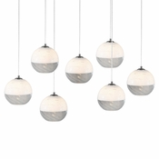 Seven Lamp P-A5 Linear Encalmo Chandelier - White & Clear Glass