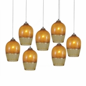 Seven Lamp P-A6 Linear Encalmo Chandelier - Amber Glass