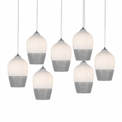 Seven Lamp P-A6 Linear Encalmo Chandelier - White & Clear Glass