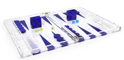 Tizo Acrylic Backgammon Set Blue & Clear