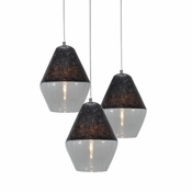 Three Lamp P-A1 Encalmo Chandelier - Black & Clear Glass