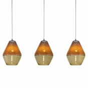 Three Lamp P-A1 Linear Encalmo Chandelier - Amber Glass