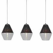 Three Lamp P-A1 Linear Encalmo Chandelier - Black & Clear Glass