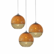 Three Lamp P-A5 Encalmo Chandelier - Amber Glass