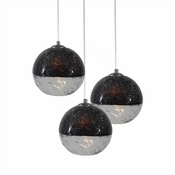 Three Lamp P-A5 Encalmo Chandelier - Black & Clear Glass