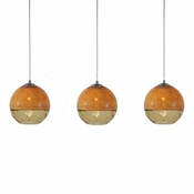Three Lamp P-A5 Linear Encalmo Chandelier - Amber Glass