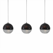 Three Lamp P-A5 Linear Encalmo Chandelier - Black & Clear Glass