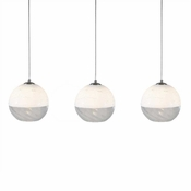 Three Lamp P-A5 Linear Encalmo Chandelier - White & Clear Glass