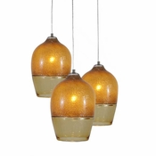 Three Lamp P-A6 Encalmo Chandelier - Amber Glass