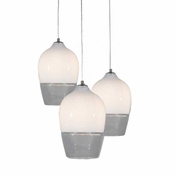 Three Lamp P-A6 Encalmo Chandelier - White & Clear Glass