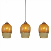 Three Lamp P-A6 Linear Encalmo Chandelier - Amber Glass