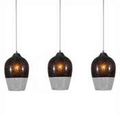 Three Lamp P-A6 Linear Encalmo Chandelier - Black & Clear Glass